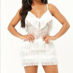White tiered fringe dress